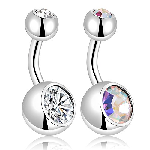 ( Kangyijia 14G 1/4 inch (6mm) Surgical Steel Short Belly Button Rings Internally Threaded Navel Piercing CZ Earring Piercing )