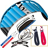 HQ Symphony Pro 2.5 Kite Neon Blue Bundle (3 Items) + Peter Lynn Heavy Duty Padded Kite Control Strap Handles Pair + WindBone Kiteboarding Lifestyle Stickers