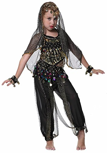 Seawhisper Kid's Belly Dance Girl Halter Top, Harem Pants, Halloween Costumes Set]()