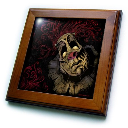 3dRose Dark, Evil, Clown, Illustration - Creepy Clown with Red Hair - 8x8 Framed Tile (ft_252432_1) (Creepy Clowns Pictures)