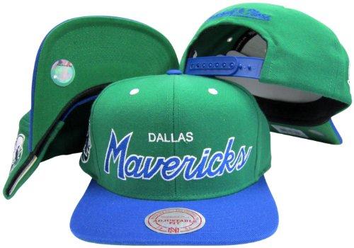 Dallas Mavericks Script Green/Blue Two Tone Snapback Adjustable Plastic Snap Back Hat / Cap ()