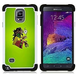 For Samsung Galaxy Note 4 SM-N910 N910 - Cool Chill Green Rasta 420 Dual Layer caso de Shell HUELGA Impacto pata de cabra con im????genes gr????ficas Steam - Funny Shop -