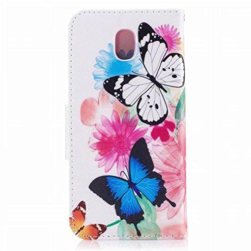Samsung J3 Caoutchouc Avec Cuir Papillon Galaxy Mode Cover Cover Silicone Coque Pu Flip 2017 Pochette Fente Ougger Carte Magnétique Housse Protecteur Etui Pour J330 qEIHwAF