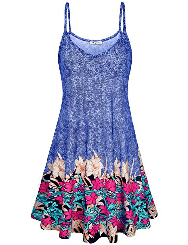 Contemporary Print Dress - SeSe Code Summer Dress Women Floral Sundresses Casual Beach Flowery Bohemian Style Clothing Colors Fashion Swing A-Line Flowing Slimming Junior Dresses Blue M