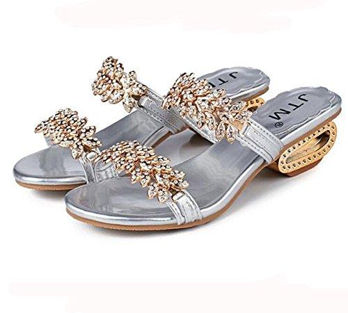 de ouvert mode pantoufles cool à des strass avec sandales 2 grande KUKI Mesdames taille bout px8Off