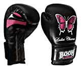 BOOM Prime Ladies Rex Leather Boxing Gloves Womens Butterfly Gel Fight Punch Bag MMA Sparring Training Muay Thai (8oz)