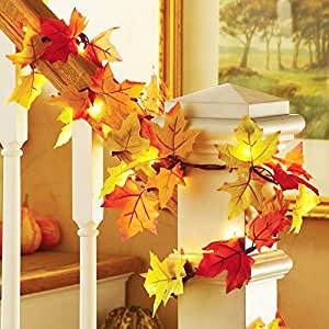 SZMWL LED Lighted Maple Leaves Harvest Fall Garland Lights String for Indoor, Thanksgiving, Christmas, Birthday, Parties DIY Decorations(warm white light)