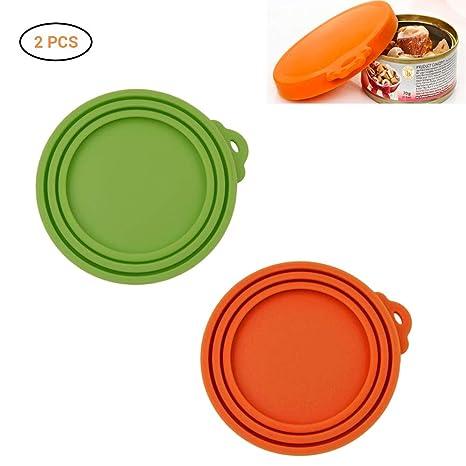 Mallalah Tapa de Silicona para latas de Alimentos para Mascotas 2 PCS(Verde + Naranja