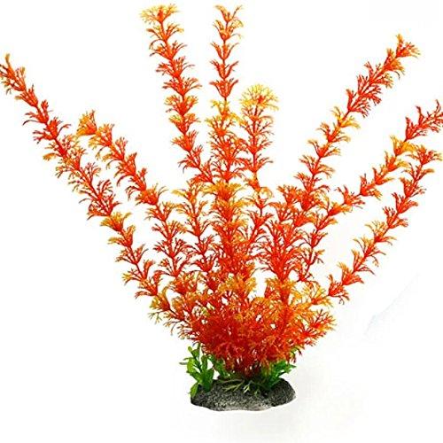New High Artificial Plastic Water Plant for Aquarium Decoration Fish Tank Ornament Orange set50 (Yellow Seedling)