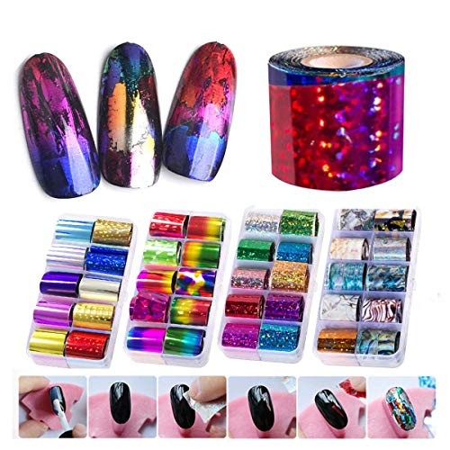8 Boxes Nail Foils Set, Saviland Different Patterns Nail Art Transfer Foil DIY Manicure Decoration Sticker
