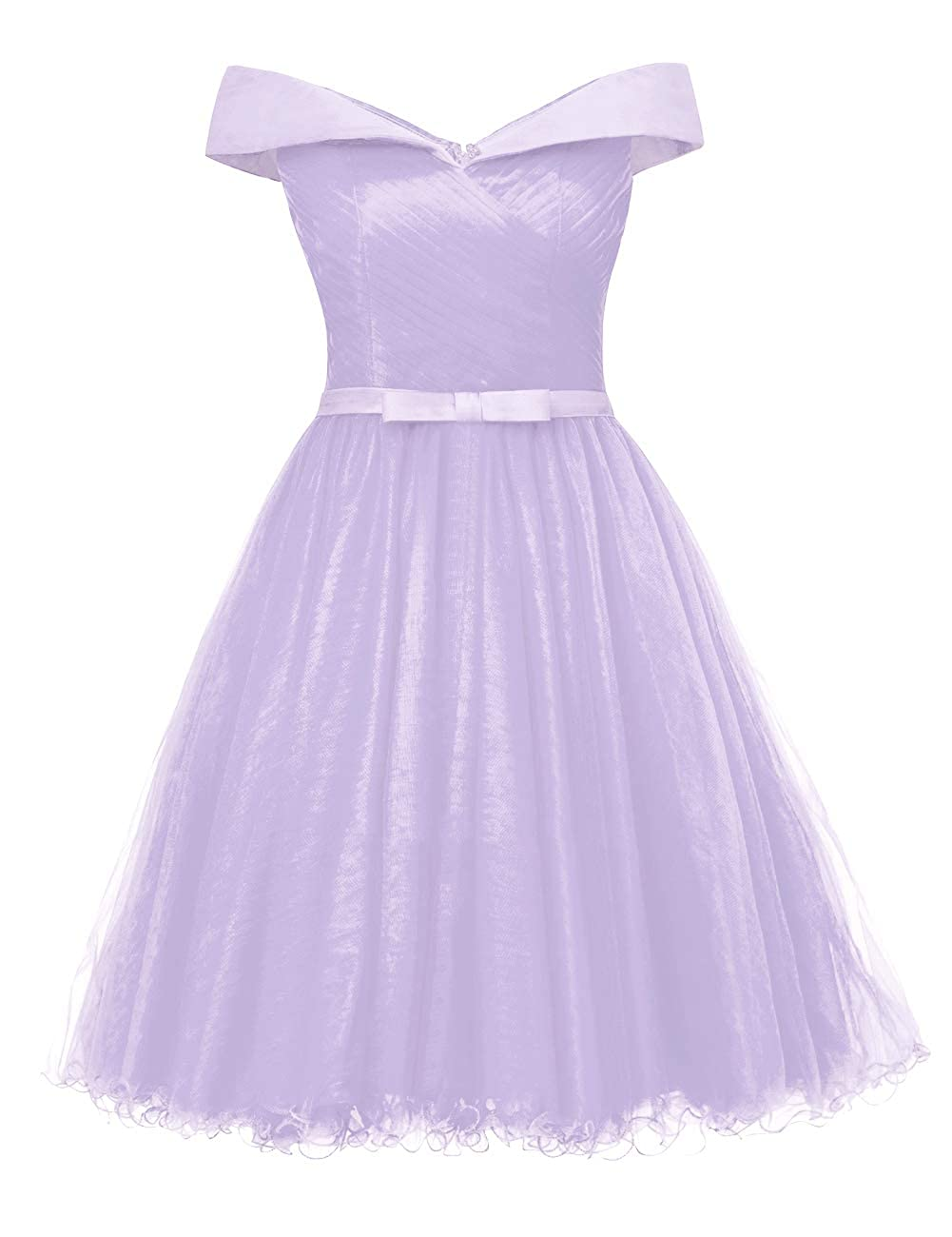 Lavender Uther Off The Shoulder Prom Homecoming Dresses Knee Length Cocktail Dress Tulle Gown