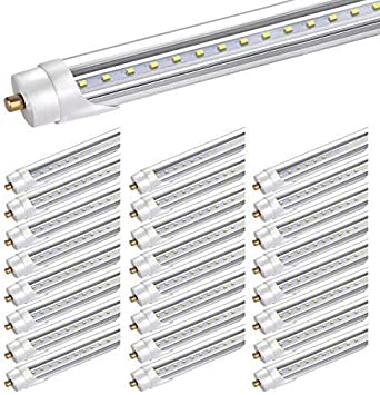 Bbounder 25 Pack led Tube Light 8ft, for T8 or T12 Flourescent Light Bulbs (120W) Replacement,,45W, FA8 Single Pin Base, 5200LM 6000K, Dual Ended Power, Ballast Bypass,ETL Listed