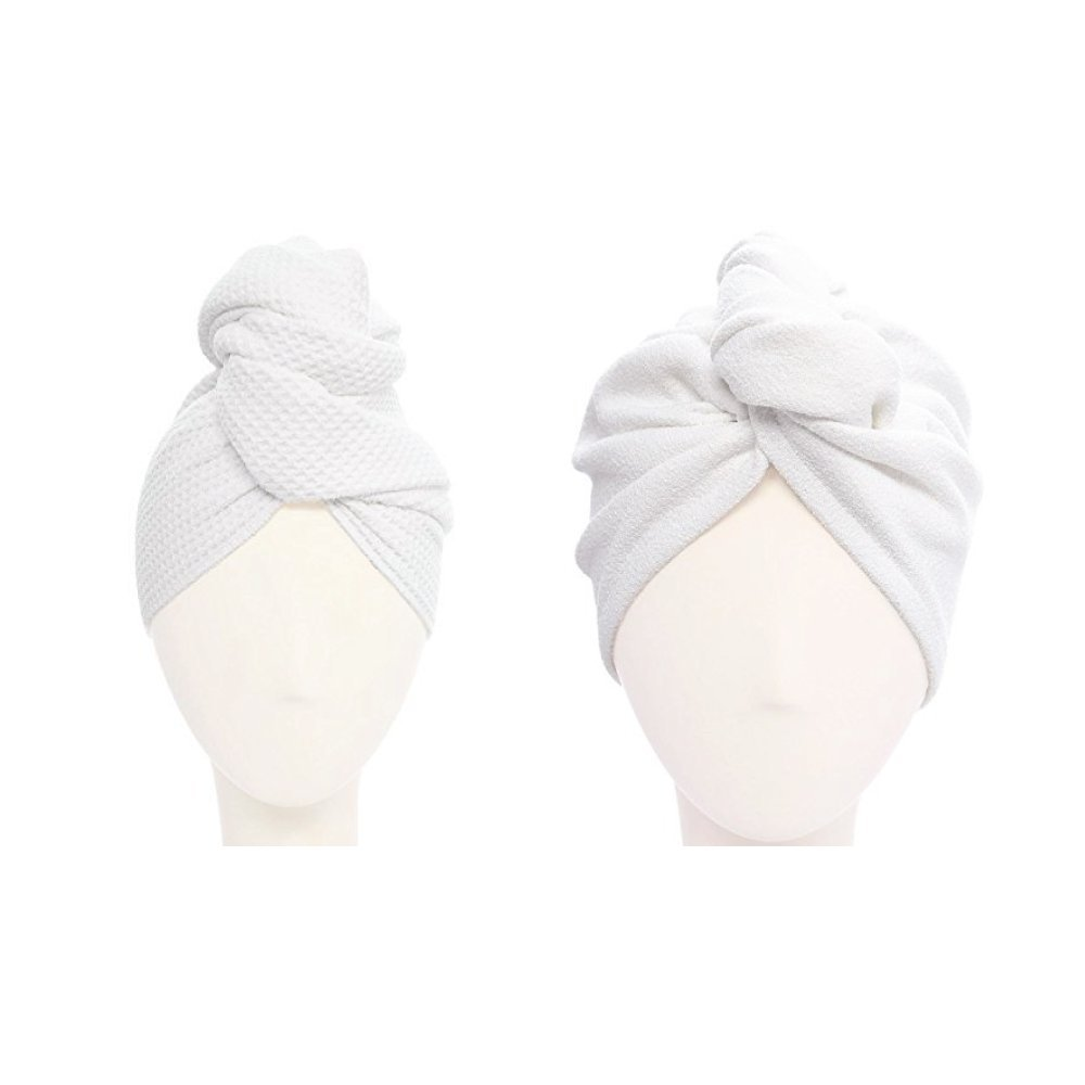 Aquis - Original Microfiber Hair Towel and Turban Set, One Waffle Hair Towel (19'' x 39'') and One Lisse Hair Turban (10'' x 26''), Made of Ultra Absorbent & Fast Drying Aquitex Microfiber, White
