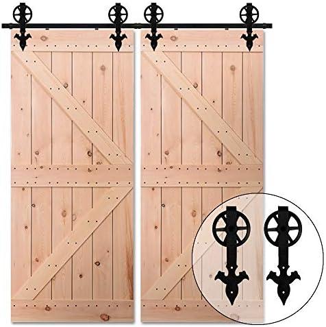 274CM/9FT Herraje para Puerta Corredera Kit de Accesorios para Puertas Correderas Juego de Piezas,para puerta doble ...