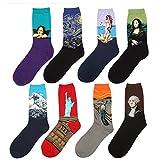 Vigvog Men's Art Patterned Casual Couple Crew Socks 8 Pack