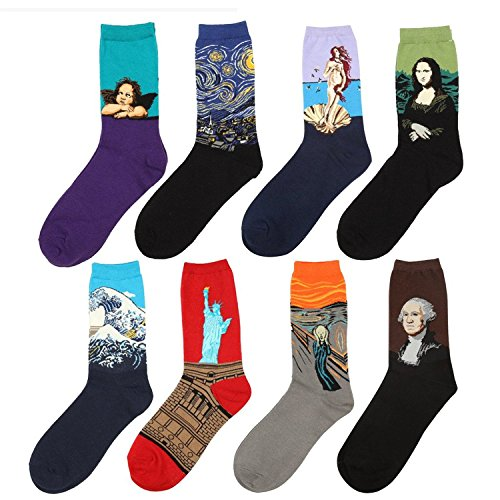 Vigvog Men's Art Patterned Casual Couple Crew Socks 8 Pack by VIGVOG