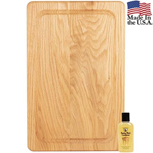 Wood Cutting Board for Kitchen – BONUS Butcher Block Conditioner Oil - Wooden Chopping Boards with Juice Drip Groove – Knife Friendly Sturdy and Durable - Amish Crafted 11x17 ()