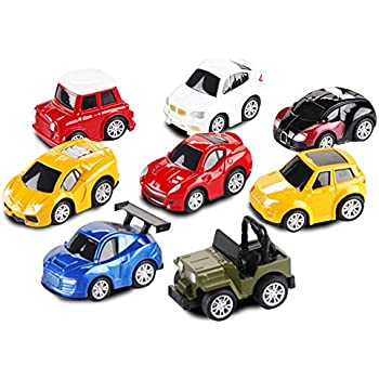 Car Toys-Die-cast Cars and Pull Back Vehicles for Toddlers & Kids (8 PCS)-Friction Powered-Bright Colored by ToyerBee