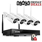 ZOSI 4PCS Megapixel 720P Wireless Outdoor IP Camera System 100ft (30m) Night vision with 4 Channel Security 1080P HD Network IP NVR Wifi Kit Support Smartphone Remote view with 1TB Hard Drive