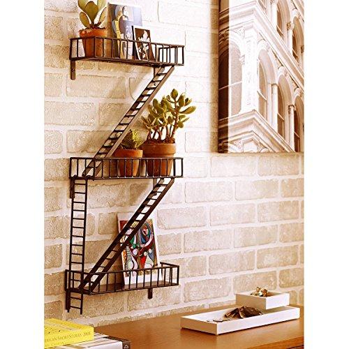 Artesia   SC FRE 001 Antique Designer Brown Fire Escape Wall Shelves / Shelf