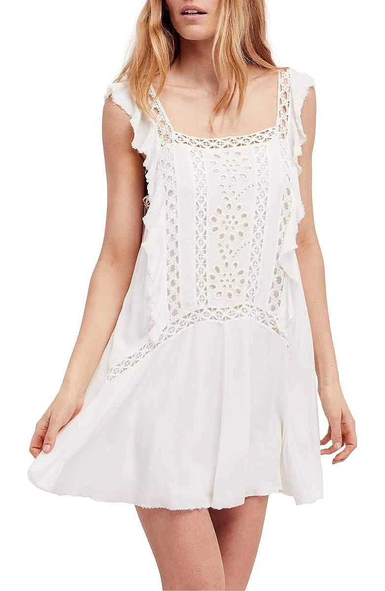a2ff51b2728 Free People Women s Eyelet Ruffle Cap Sleeve Priscilla Mini Dress ...