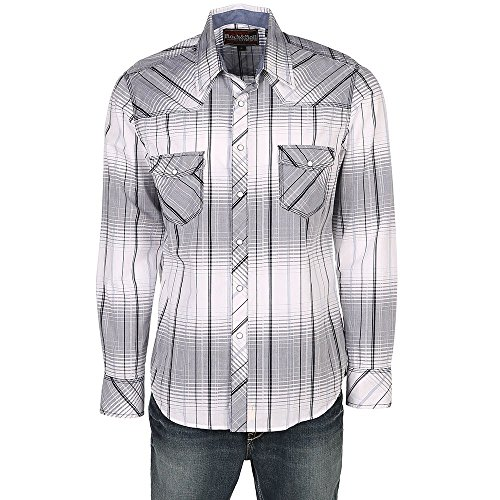 Snap Close Western Shirt (Rock and Roll Cowboy Men's Plaid Long Sleeve Snap B2S5731 Turquoise/Grey Large)