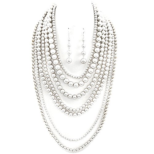 Affordable Wedding Jewelry Statement Beaded Layered Strand Metallic Simulated-Pearl Bead Long Necklace Set Gift Bijoux (Polished & matte Silver)