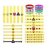 LOKIPA Rubber Emoji Bracelets Slap Wristband Novelty Toys for Kids Birthday Party Emoji Party Supplies Classroom Rewords, 30pcs in 5 styles