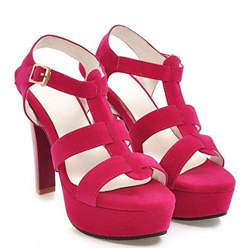 Red Sandals High Heel Summer TAOFFEN Women qXB8ST