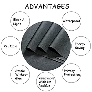 Blackout Window Film, Static Cling Window Tint 100% Light Blocking Glass Film for Privacy, Nap Time, Night Working, Heat Rejection, Baby Room and Day Sleeping (Matte Black, 17.7x78.7 Inch)