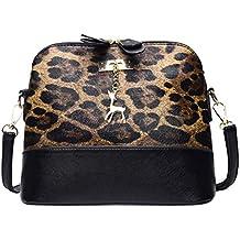 Rakkiss Women Leopard Print Crossbody Bag Fawn Pendant Shell Shoulder Bag Messenger Bag
