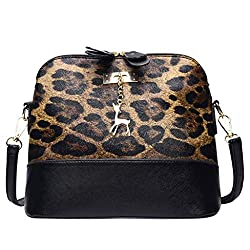Crossbody Bag For Women Small Liraly Ladies Leather Fawn Pendant Shell Shoulder Bag Messenger Bags Brown