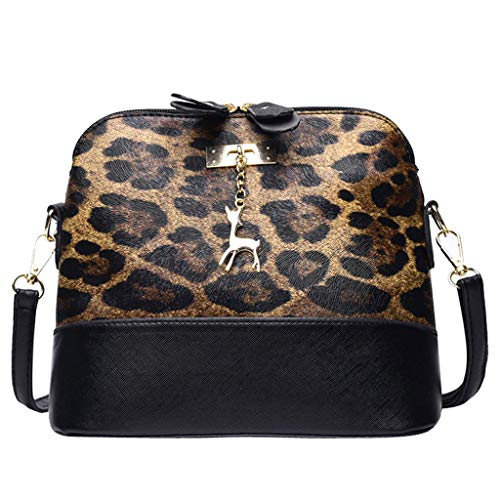 Women Bag,MaxFox Ladies Leopard Print Fawn Pendant Shell Zipper Crossbody Shoulder Bag Messenger Bag (Brown)