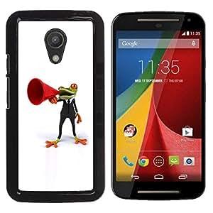 YiPhone /// Prima de resorte delgada de la cubierta del caso de Shell Armor - Frog Orator White Minimalist - Motorola MOTO G 2ND GEN II
