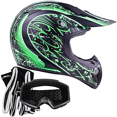 Typhoon ATV MX Helmet Goggles Gloves Gear Combo Matte Green w/Black ()