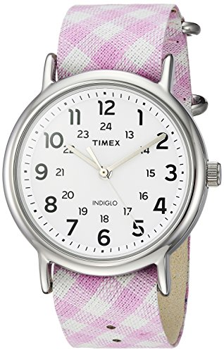 Timex Women's TW2R24200 Weekender Pink Gingham Nylon Slip-Thru Strap Watch