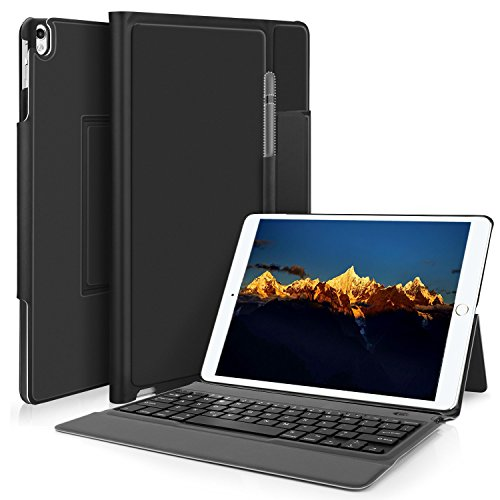 Case Leather Apple Travel (IVSO Apple ipad 9.7 2017 Case With Keyboard, DETACHABLE Bluetooth Keyboard Front Prop Stand Case / Cover for Apple ipad pro 9.7/ipad 9.7 2017 (Black))
