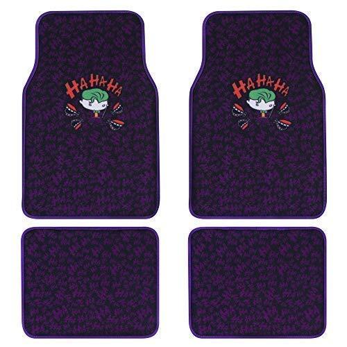 BDK The Joker 4pc Carpet Car Floor Mats - Purple Binding - Official DC Comics Gear