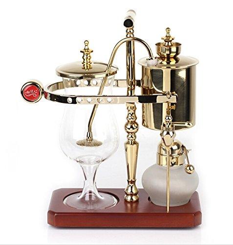 DGCoffee Belgian Belgium Luxury Royal Family Balance Syphon Coffee Maker Classic Single Column (Golden)