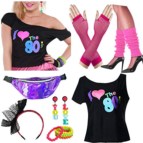 Dancing Stone Womens 80s T-Shirt Wild Fanny Pack Bag Plus Size Costume Outfit Accessory (Hot Pink, XXL/XXXL)]()