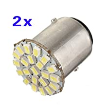 SODIAL(R) 2x 1157 T25 S25 BAY15D 22 SMD LED White Car Stop Tail Turn Brake Light Bulb Lamp