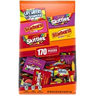 SKITTLES, STARBURST, and LIFE SAVERS Gummies Halloween Candy Bag, 170 Fun Size Pieces, 63.43 ounce