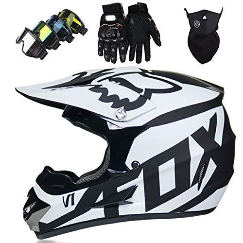 Motorradhelm – Motocross Helm Set – Dirt Bike Fullface Offroad Motorrad Helm mit Schutzbrille Geeignet für Kinder von 5…