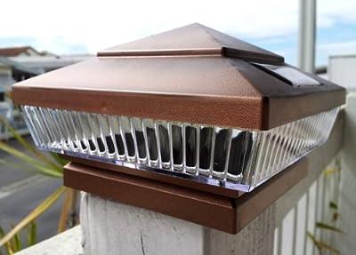 2-pk Garden Solar Post Deck Cap Square Fence Lights 5 LED