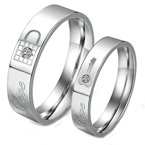 Beydodo Wedding Bands for Women and Men Ring Size 11 and Women Ring Size 9 Key Lock CZ Silver