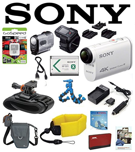 Sony FDR-X1000VR/W FDR-X1000V FDRX1000VRW X1000VRW 4K Action Cam and LiveView Remote Kit w/ Pro WRIST MOUNT, Battery, Flexpod, LowePro Case, Floating Strap, 32GB, Accessory Kit