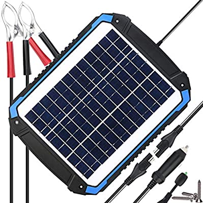 SUNER POWER 12V Solar Car Battery Charger & Maintainer - Portable Solar Panel Trickle Charging Kit for Automotive, Motorcycle, Boat, Marine, RV, Trailer, Powersports, Snowmobile, etc.