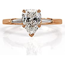 Mark Broumand 1.18ct Pear Shaped Diamond Three-Stone Engagement Ring