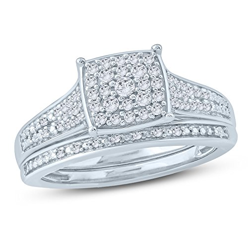 (1/3 Ct Round Diamond Cushion Shape Cluster Engagement Wedding Set In Sterling Silver (IJ/I2))