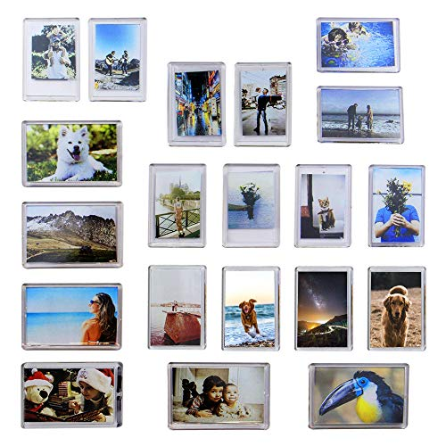 (Pack of 20 Mini Photo Frame Magnets | Fridge Magnets Photo Holders | Personalised Home Accessories | Memory Souvenir Gift Idea | M&W)